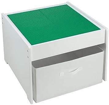 Frida Kids 2 in1 Juego mesa blanca de madera, placas compatible para ladrillos de plástico, incluye caja para guardar. Placas: (verde): Amazon.es: Bebé