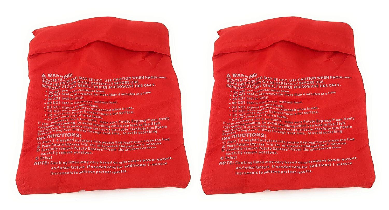 Tiempo 2/X Bolsa para cocer Patatas de microondas Rojo Reutilizable para Dieta Bolsa Cocina