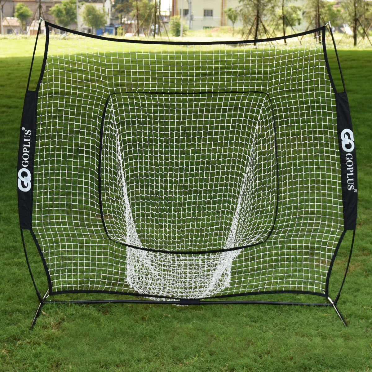 GOPLUS Practice Net, 7 7 Baseball Softball Hitting Pitching Net, Suitable for Indoor Outdoor Training Hitting Batting Catching Pitching, with Bow Frame Carry Bag