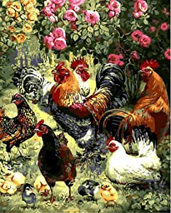 """Sonby Garden Rooster Hen Chicks Paint by Numbers Kits for Adult Kids DIY Painting by Number for Home Wall Decor,16""""x20"""" Unmounted"""