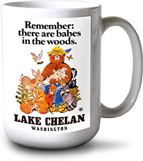 product image for Lantern Press Lake Chelan, Washington - Smokey Bear - Babes in The Woods - Vintage Poster (15oz White Ceramic Mug)