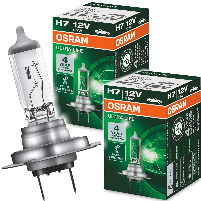 2 x H7 Halogen Scheinwerfer Birnen Autolampe Gl/ühlampe 55W 12V PX26d Longlife UV-Filter mit Xenongas