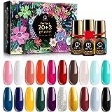 MEFA Gel Nail Polish Set 23 Pcs Gifts Box - Soak Off UV LED Color Gel Varnish with No Wipe Base and Glossy Matte Top Coat for