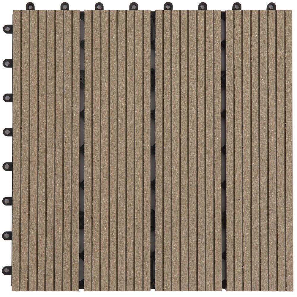 アイリスプラザ ジョイントタイル 並行溝付 人工木 ダークブラウン 9枚セット B01N7SROD3 11250 ダークブラウン|9枚セット ダークブラウン