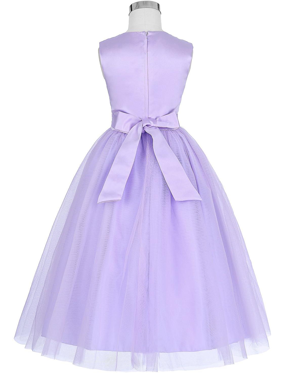 GRACE KARIN Ni/ñas Vestido de Princesa sin Mangas de Dama de Honor Fiesta de Boda Bautizo Ceremonia