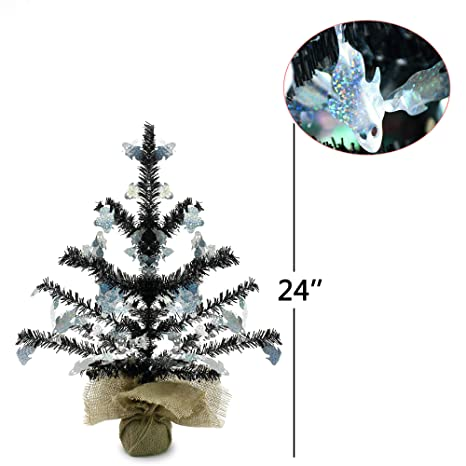 Seasonal Décor Trees YuQi 2 Foot Black Tinsel Halloween Tree