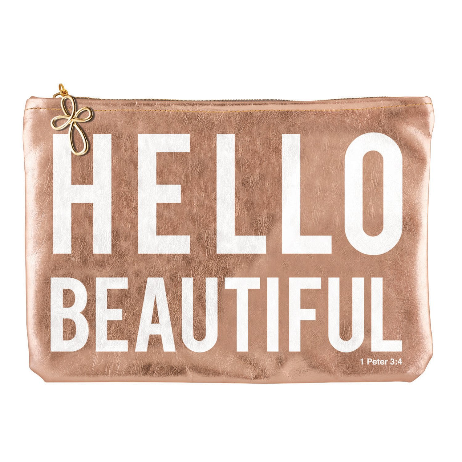 Hello Beautiful Rose Gold 10 x 7 Inch Polycotton Zippered Clutch Pouch