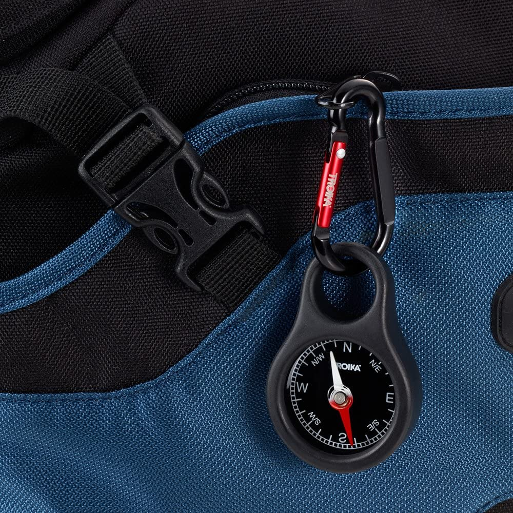 Troika WEGWEISER COS10//BK Keyring with Compass incl Carabiner PVC//Acrylic//ABS//Aluminium red Black Original