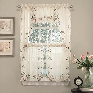 "Sweet Home Collection 5 Pc Kitchen Curtain Set - Valance Swag Choice of 24"" or 36"" Tier Pair, Rosemary Linen"