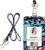 ID Badge Holder with Lanyard, Vertical Flower ID Badge Card Holder