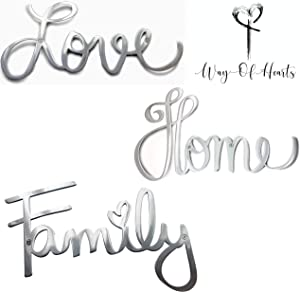 Way Of Hearts Metal Love, Home and Family Signs Bundle-Silver Wall Decor-Farmhouse Wall Decorations for Living Room-Wall Art- Home and Kitchen Decor-Room Decor-Polished Stainless Steel Signs