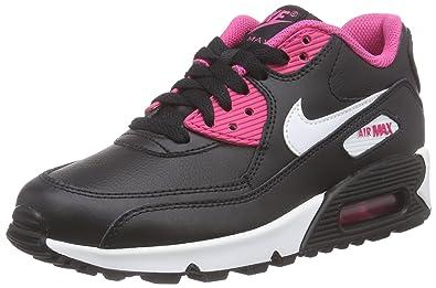 new product 26c69 2ea0c Nike Air Max 90 LTR (GS) Baskets Basses Fille, Noir - Schwarz (