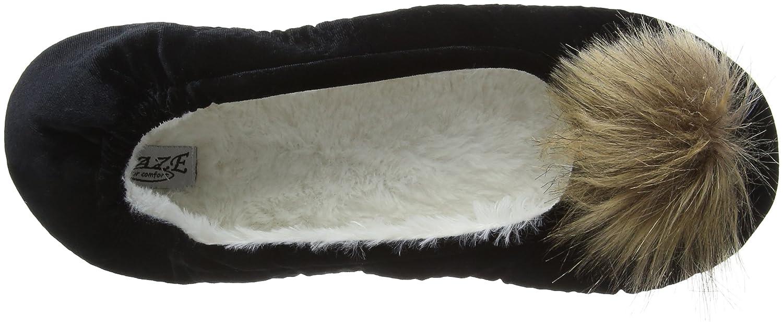 Eaze Ballet Fur Fur Ballet Pom, Pantofole DonnaNero (Navy) 6458f1