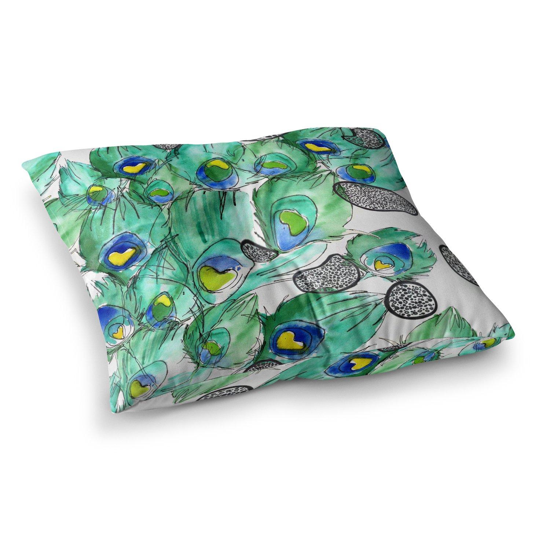 KESS InHouse Danii Pollehn Peacockcell Green Animals Square Floor Pillow, 23'' x 23''