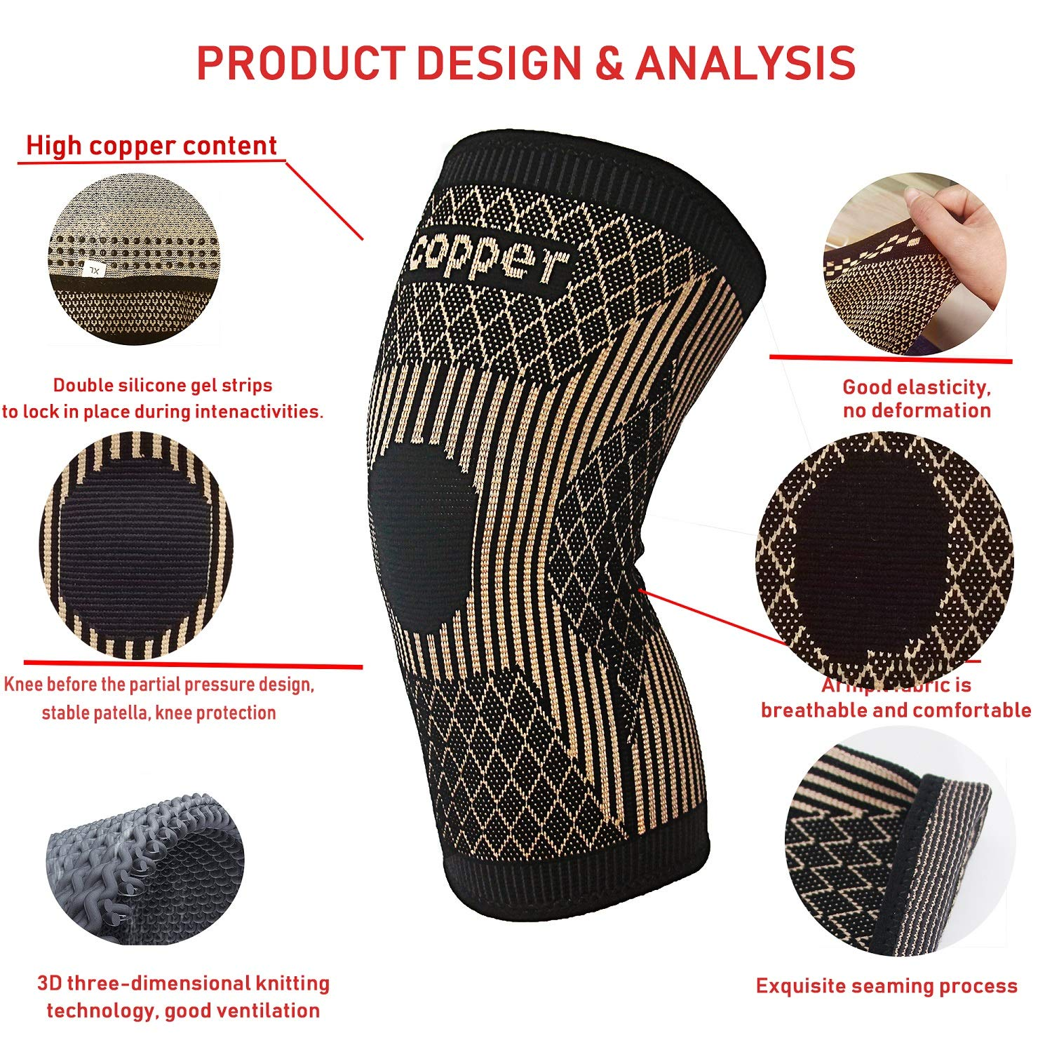 Copper Knee Brace -Copper Knee Sleeve Compression For Sports,Workout,Arthritis Pain Relief and Support-Single (L): Industrial & Scientific