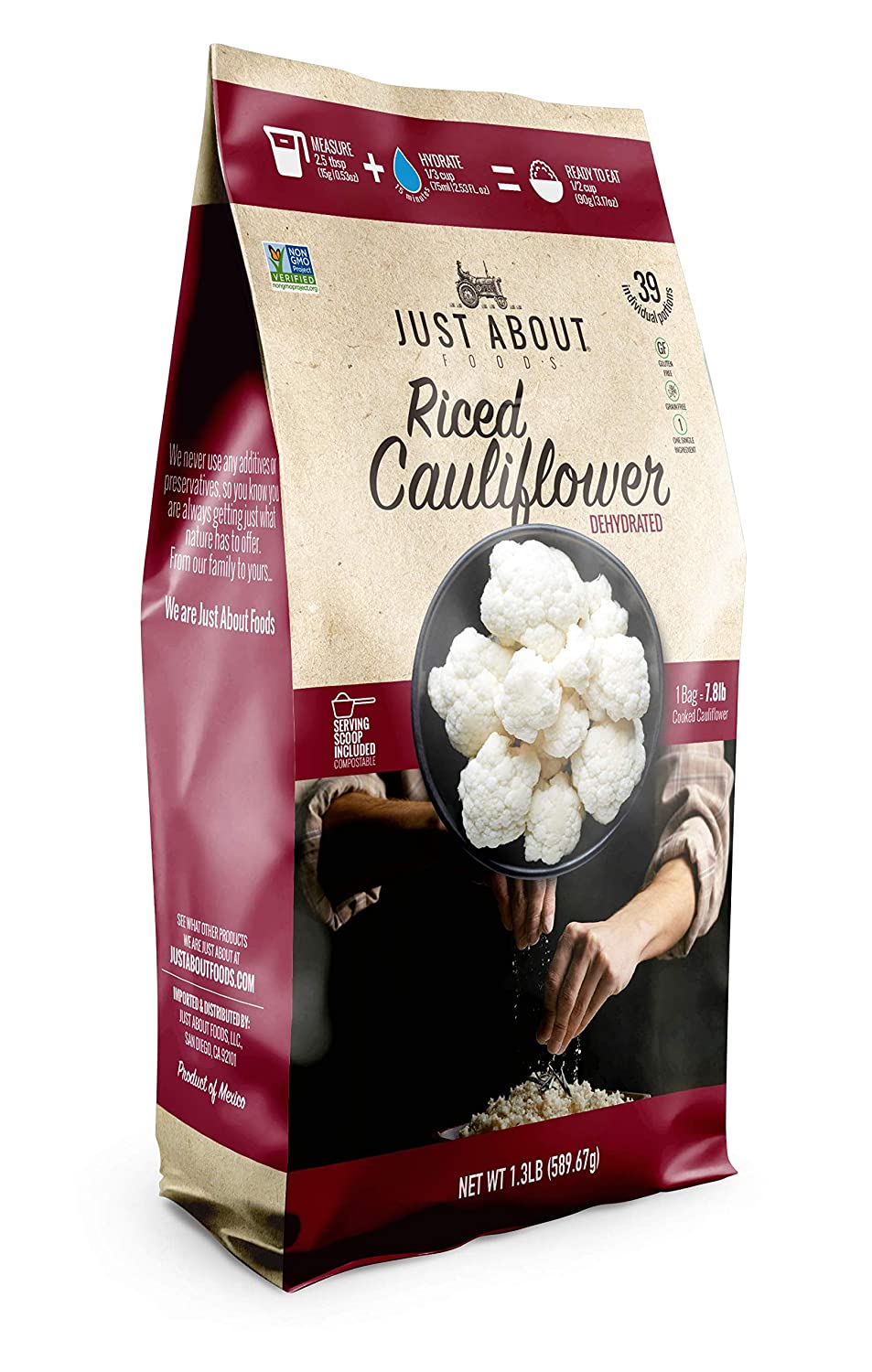 Just About Foods Dehydrated Riced Cauliflower 1.3 lb (590g) Gluten and Grain Free Good Source of Fiber Low Carb Pack of 1