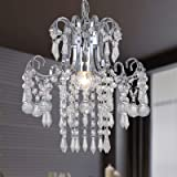 Q&S Mini Crystal Chandelier Modern Chrome Small Pendant Light Ceiling Fixture for Hallway Entryway Dining Room Kitchen Office