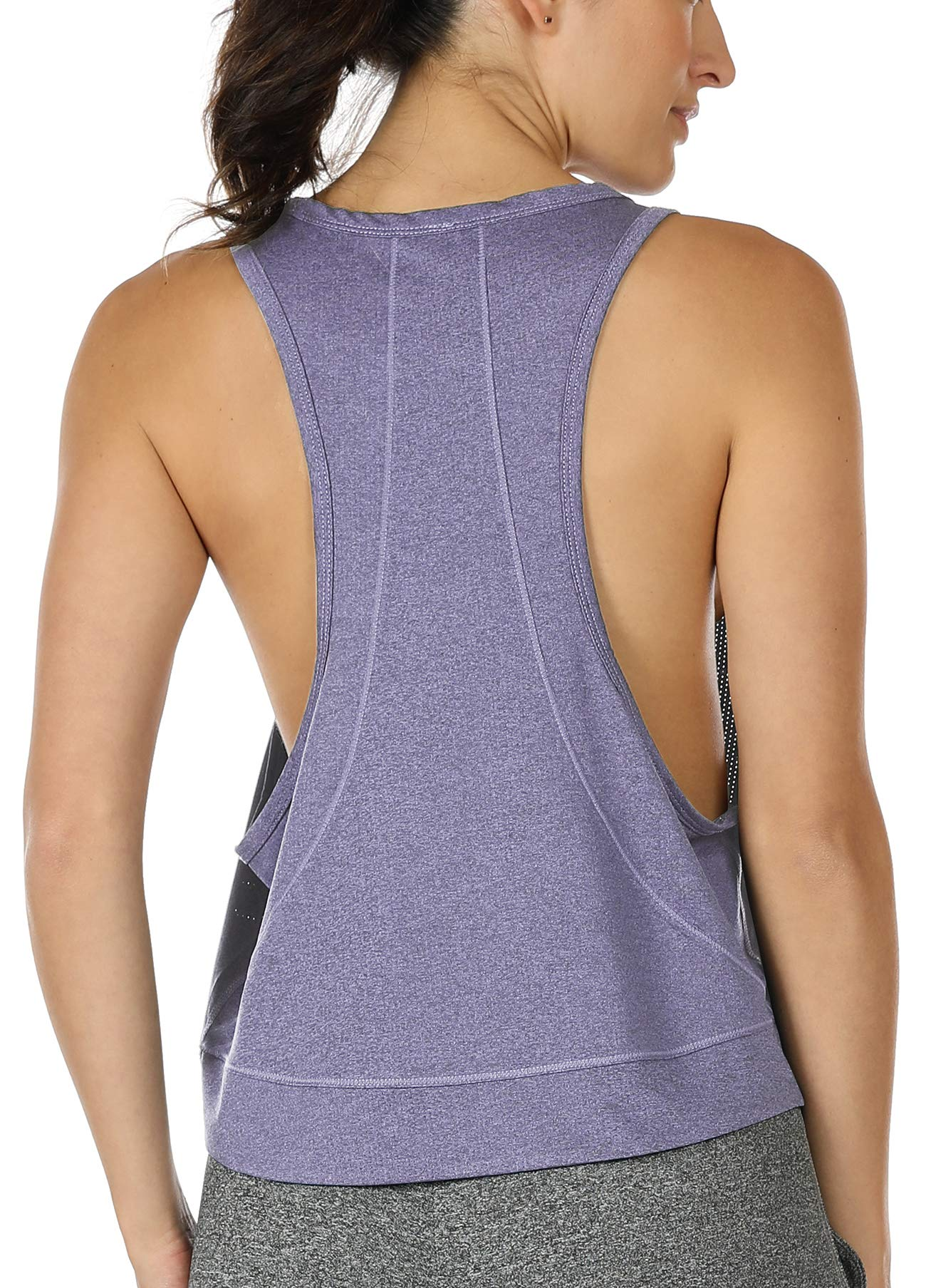 icyzone Yoga Tops Activewear Workout Clothes - Sports Racerback Tank Tops for Women (S, Lavender)