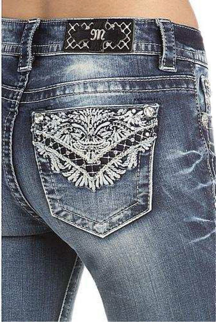 Miss Me Women's Intricate Embroidered Boot Cut Jeans Indigo 26 by Miss Me (Image #3)