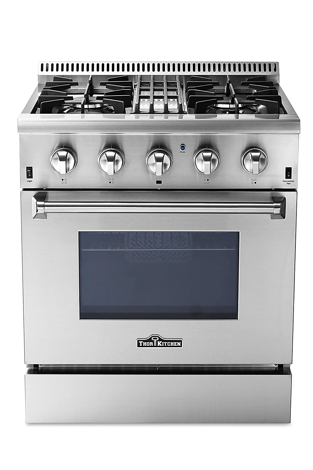"Thorkitchen HRD3088U 30"" Freestanding Professional Style Dual Fuel Range with 4.2 cu. ft. Oven, 4 Burners, Convection Fan, Stainless Steel"