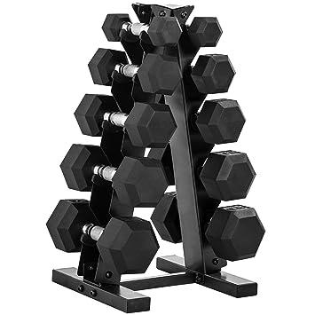 CAP - Juego de pesas de goma de 150 libras hexagonales con estante ...