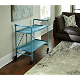 Indoor or Outdoor Folding, Metal, Rolling Serving Cart, Teal