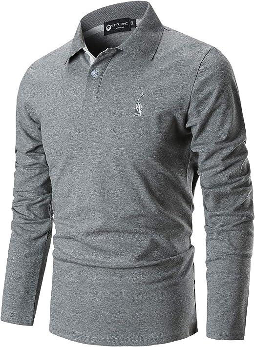 STTLZMC Polo Hombre Mangas Largas Camiseta Casual Botón Cuello Slim Fit 100% Algodón Golf: Amazon.es: Ropa y accesorios