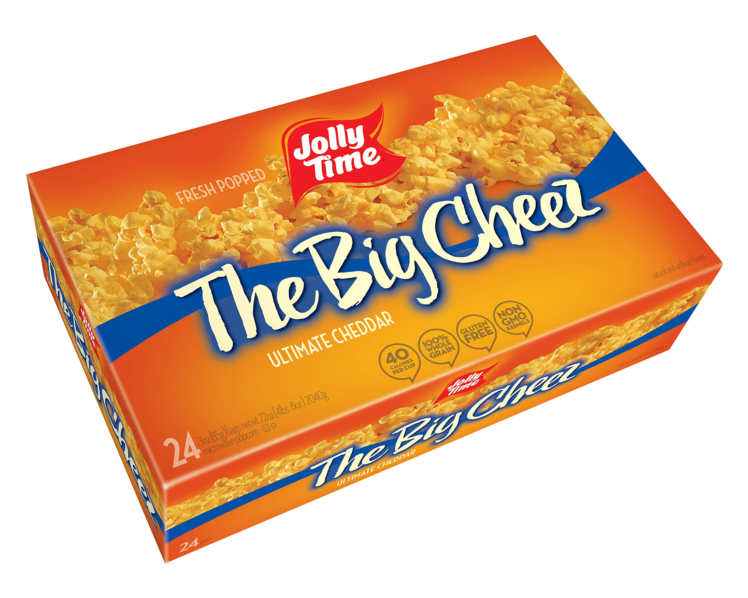 Jolly Time The Big Cheez Gourmet Cheddar Cheese Microwave Popcorn, Bulk 24-Count Box