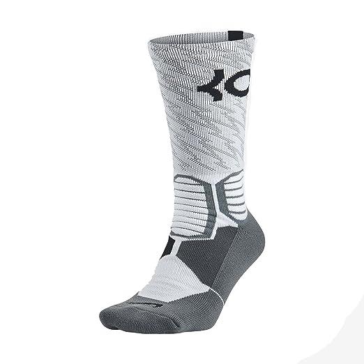 d54c92320aa Amazon.com   Nike KD Hyper Elite Crew Basketball Socks-White Gray-Medium    Clothing