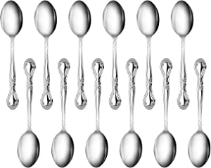 New Star Foodservice 58727 Stainless Steel Rose Pattern Teaspoon, 6.2-Inch, Set of 12…