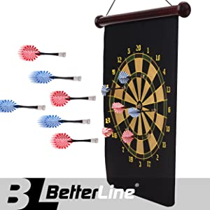 BETTERLINE Magnetic Dart Board Game Set - 16.5 x 23 Inch (42 x 58cm) Roll-up Board with 6 Darts - Child & Furniture Safe Dartboard for Kids & Adults