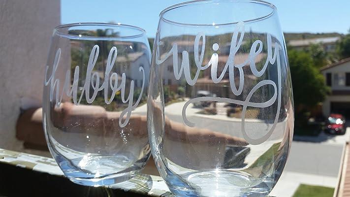 Wedding Stemless Wine Glass Set Hubby Wifey Red Wine White Wine Anniversary Glasses