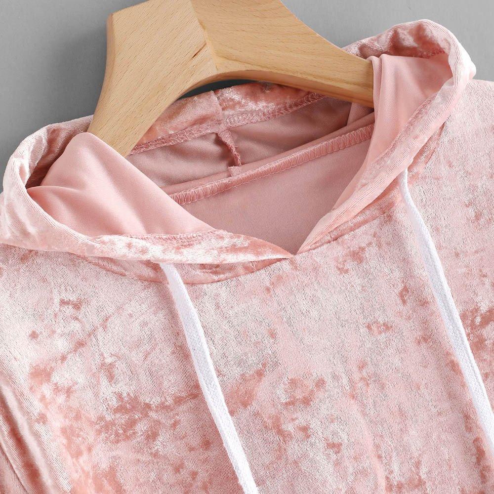 Donna Felpa con Cappuccio Felpa Manica Lunga Maglione Pullover Top in Velluto Rosa Kword Felpe Donna Tumblr
