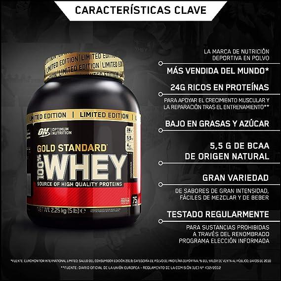 Optimum Nutrition ON Gold Standard 100% whey proteína en polvo suplementos deportivos con glutamina y aminoacidos micronizados incluyendo BCAA, ...