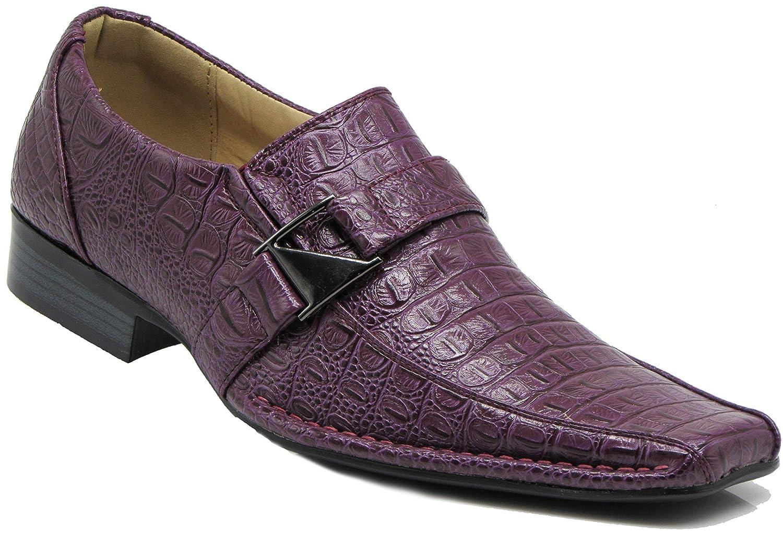 fd2b11bdd4195 Amazon.com | Enzo Romeo Santcro Men's Dress Crocodile Print Loafers Elastic  Slip on with Buckle Fashion Shoes Runs Half Size Big | Loafers & Slip-Ons