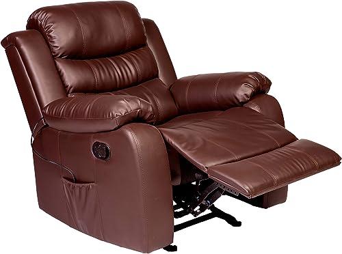 RelaxZen Oscar Rocker Recliner with Massage and Heat, Brown