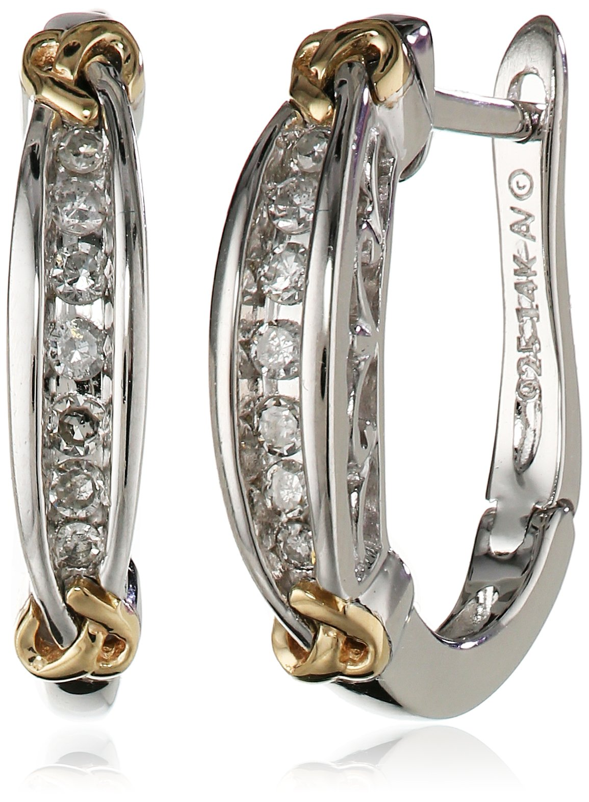 Love Knot Sterling Silver and 14k Yellow Gold Diamond Hoop Earrings (.14 cttw, I-J Color, I3 Clarity)