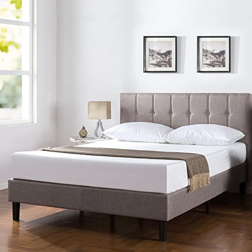 Zinus Brandy Upholstered Vertical Detailed Platform Bed Mattress Foundation Easy Assembly Strong Wood Slat Support, Queen