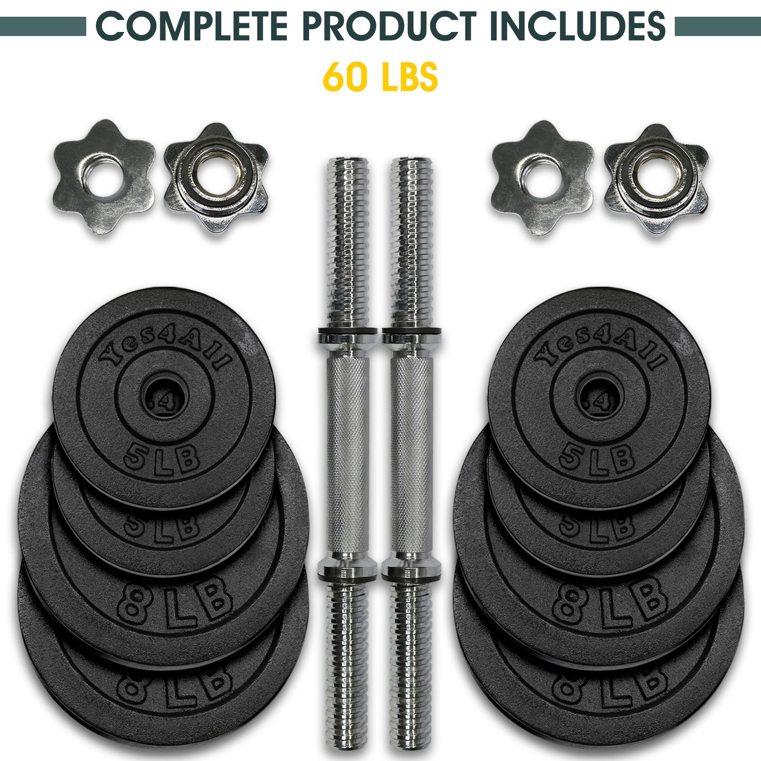 Yes4All Adjustable Dumbbells - 60 lb Dumbbell Weights (Pair) by Yes4All (Image #4)