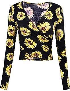 dd30d59d10f4a Odosalii Women s Deep V Neck Shirt Long Sleeve Blouse Sexy Cross Warp Top  Slim Fit Crop