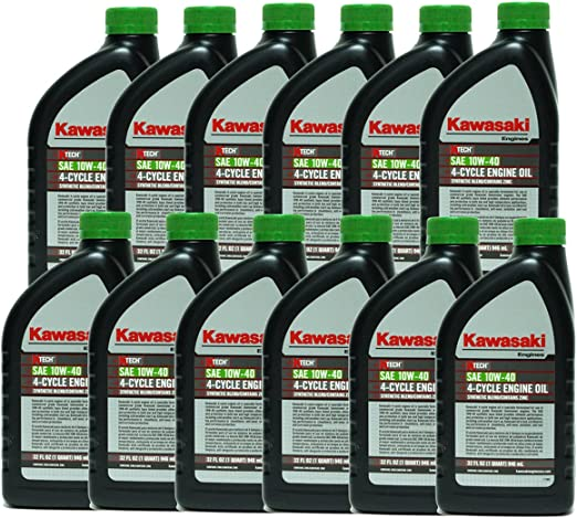 Amazon.com: 12pk OEM aceite de motor KAWASAKI 10 W40 Quart 4 ...