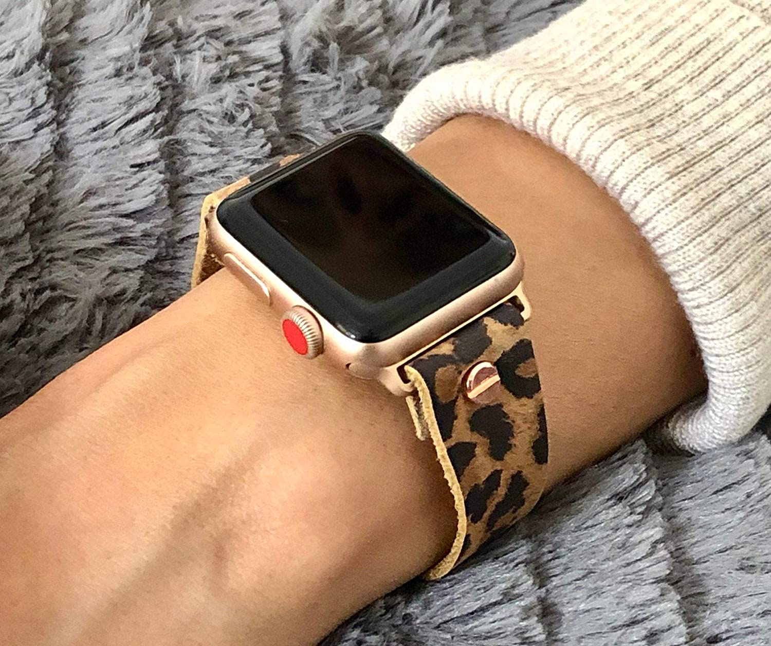Amazon Com Leopard Leather 18mm Strap Bracelet For Apple Watch Series 6 5 4 3 2 1 Iwatch 38mm 40mm 42mm 44mm Band Rose Gold Jewelry Adjustable Size Watchband Handmade