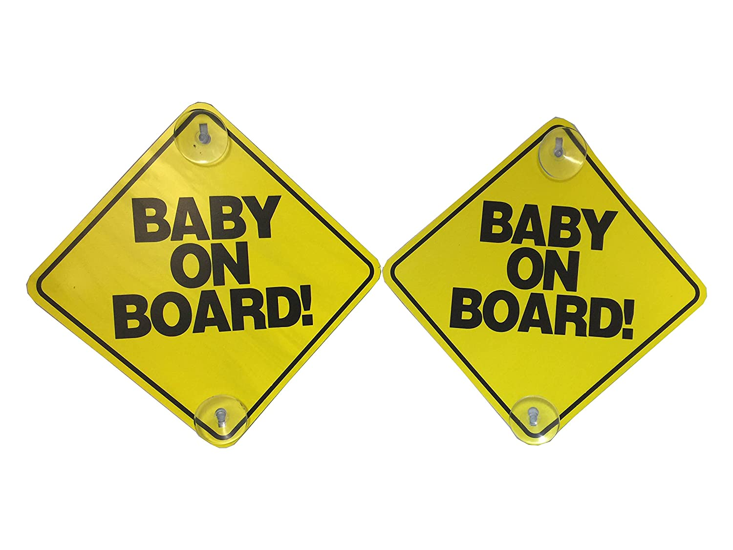 """Baby on Board - 2 Pack - Large 6"""" x 6"""" Yellow Car Signs with 2 Attached Suction Cups."""