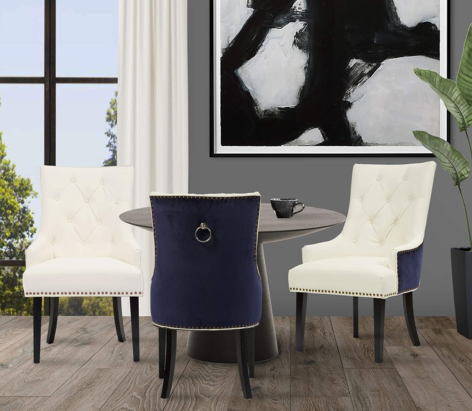 Iconic Home Cadence Dining Side Chair Button Tufted Pu Leather Velvet Polished Brass Nailheads Espresso Finished Wooden Legs Navy White Modern Transitional Chairs Amazon Com