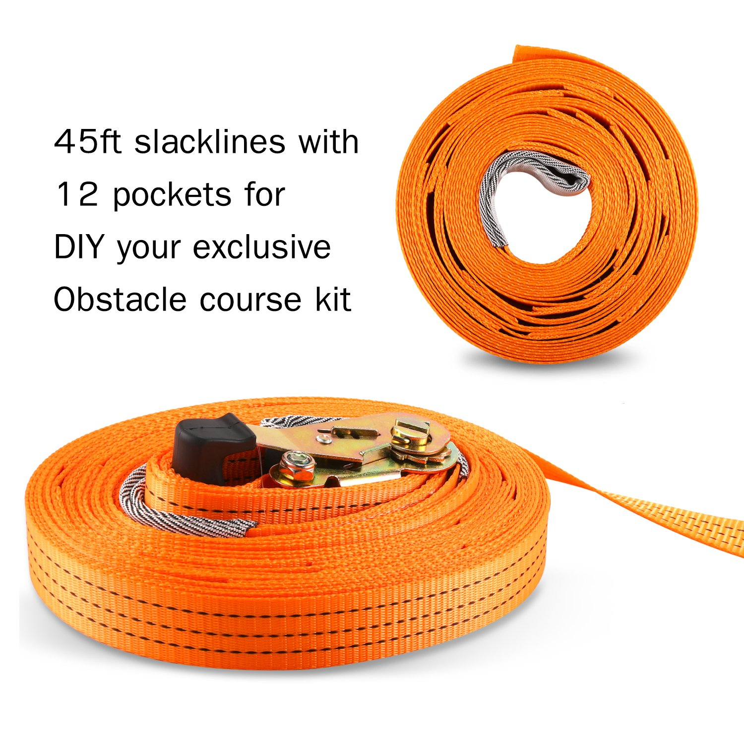 PACKGOUT Slackline, 45' Obstacles Course for Kids Warrior Training Equipment Swing Hanging Monkey Bar Kits, Gifts for Boys and Girls Included Carrying Bag and Tree Protectors by PACKGOUT (Image #3)
