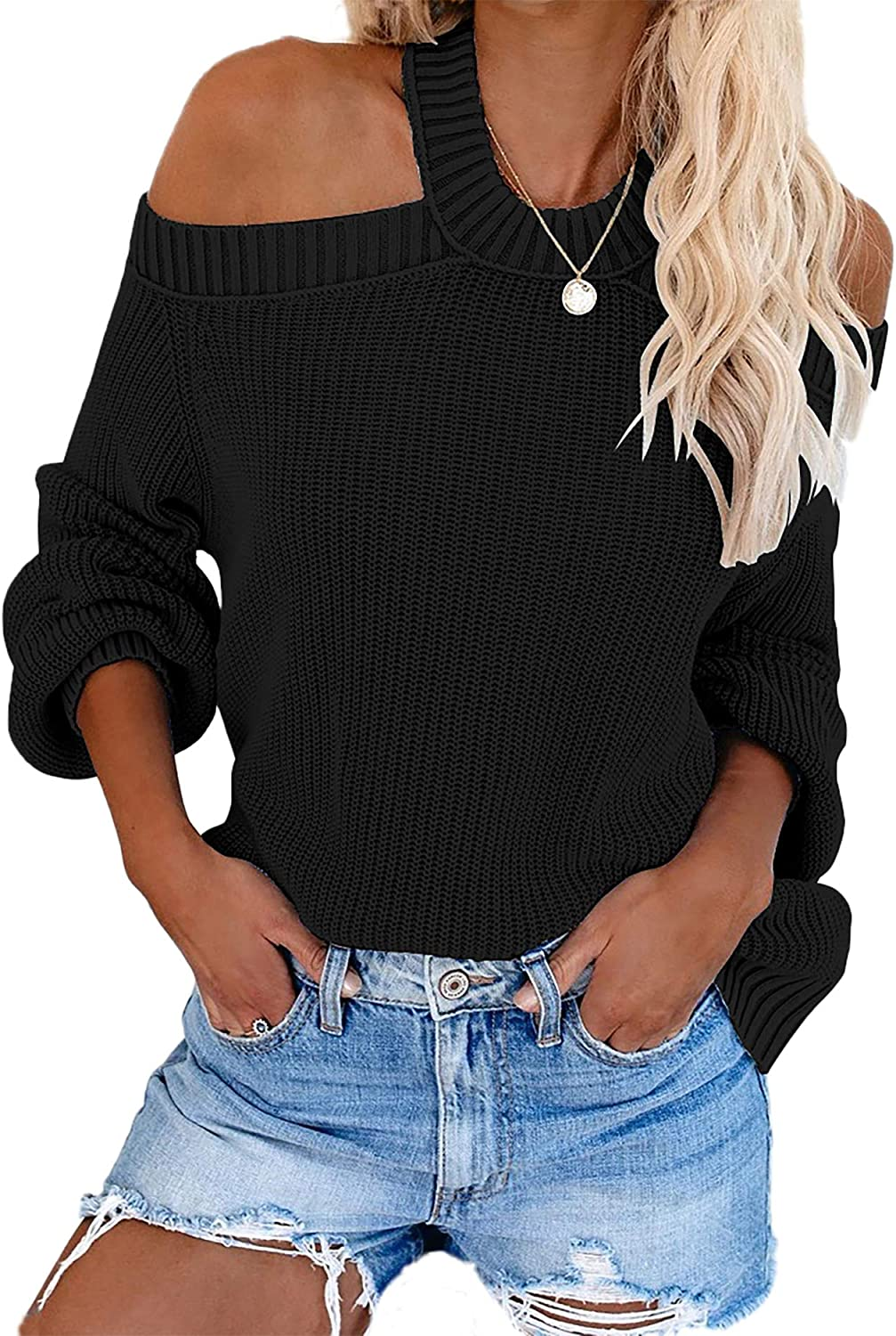 Womens Off Shoulder Chunky Knit Jumper Lady Loose Baggy Sweater Wrap Knitted Top