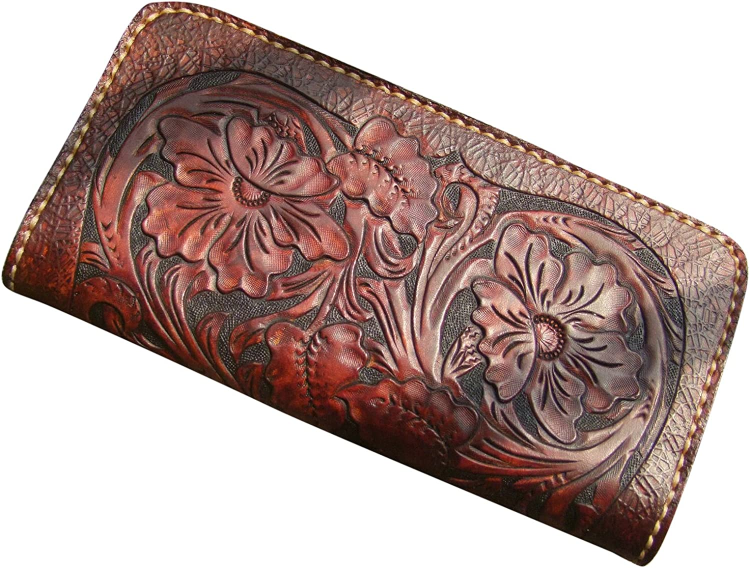 GPUFashion Handmade Leather Craft Wallet Chocolate Carved with Chocolate Tang Dynasty flower Design