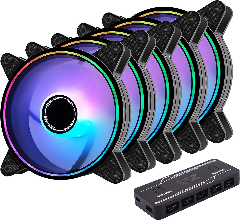 EZDIY-FAB Moonlight - Ventilador de caja PWM RGB 120 mm con buje de ventilador RGB PWM, sincronización de placa base 5 V, ventilador de ordenador ARGB, modos de iluminación múltiples, 5 unidades