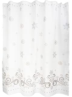 Lenox 8060SHOCURSILVER Snowflake Shower Curtain