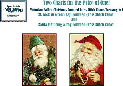 Santa Claus 7 Chart Counted Cross Stitch Patterns Needlework DIY DMC Color